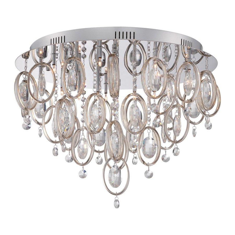 Quoizel Ella 23-in W Polished Chrome Crystal Ceiling Flush Mount Light