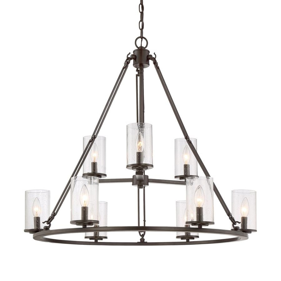 Quoizel Buchanan 33-in 9-Light Western Bronze Rustic Seeded Glass Tiered Chandelier