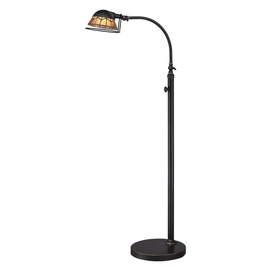 Quoizel Vivid Whitney 49-in Imperial Bronze LED Indoor Floor Lamp with Tiffany-Style Shade