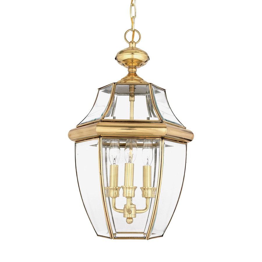 Quoizel Newbury 21-in Polished Brass Outdoor Pendant Light