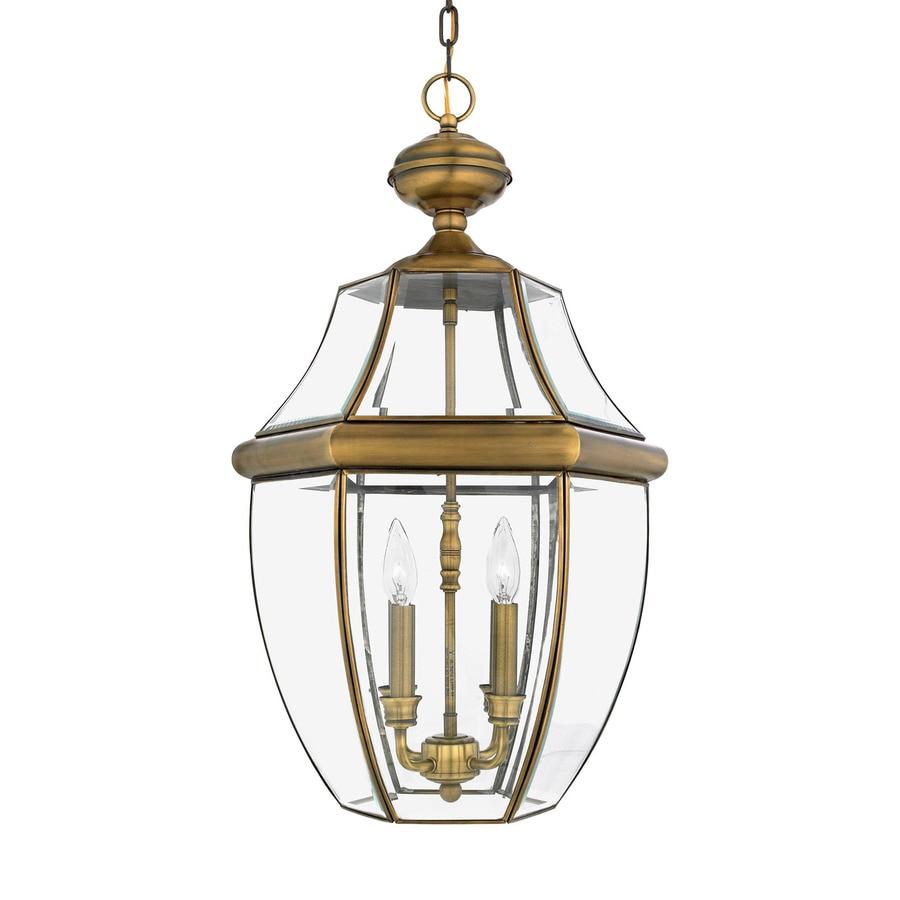 Quoizel Newbury 26.5-in Antique Brass Outdoor Pendant Light