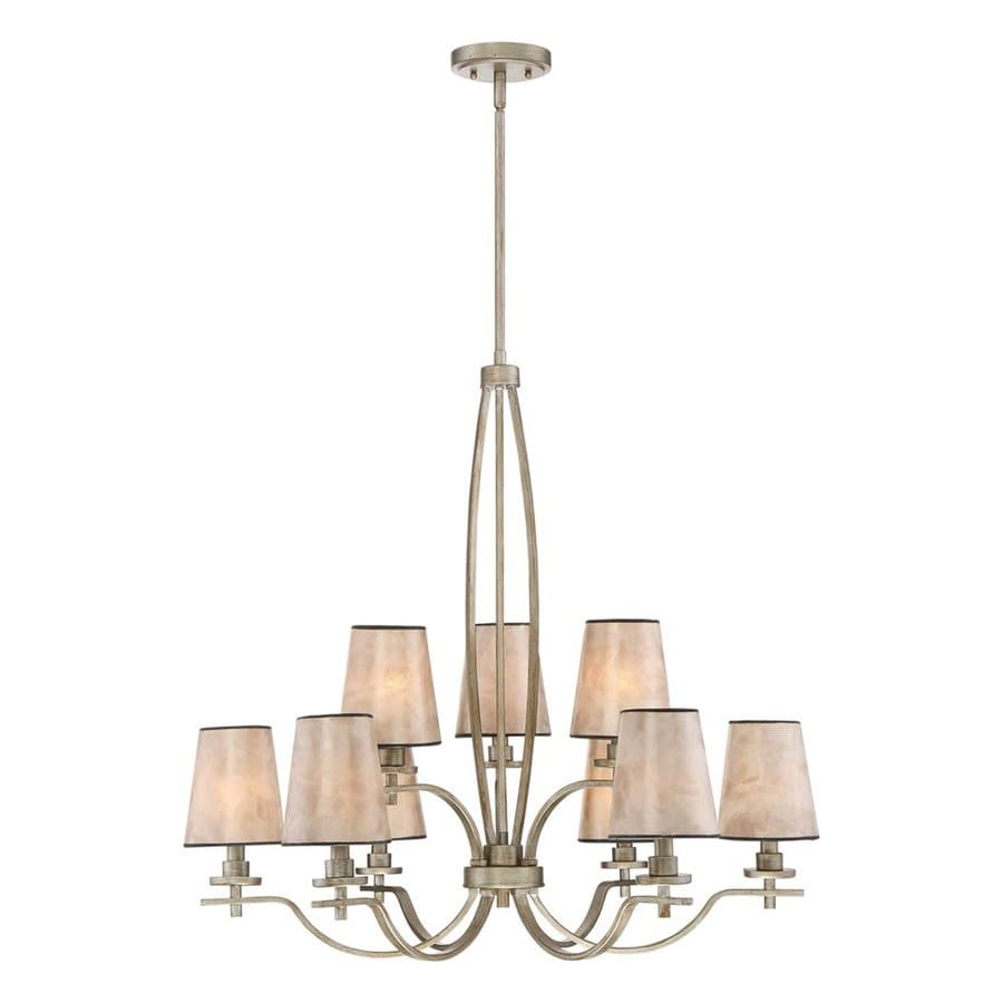 Quoizel Belhaven 30-in 9-Light Vintage Gold Shaded Chandelier
