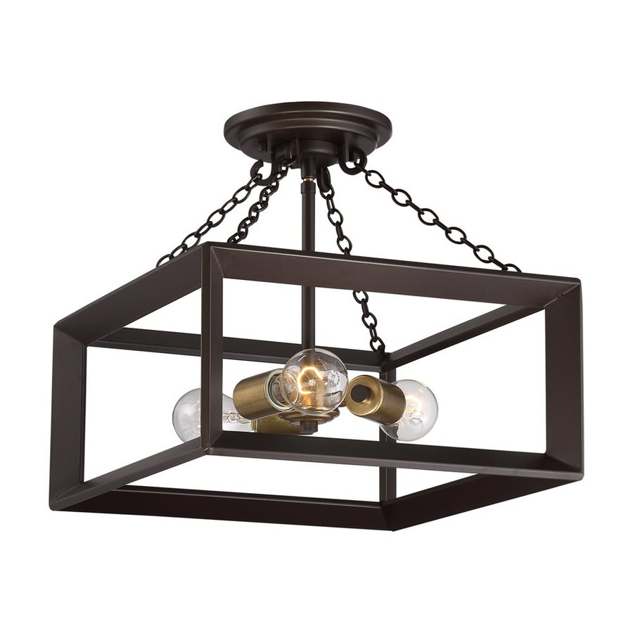 Quoizel Brook Hall 14-in W Western Bronze Glass Semi-Flush Mount Light