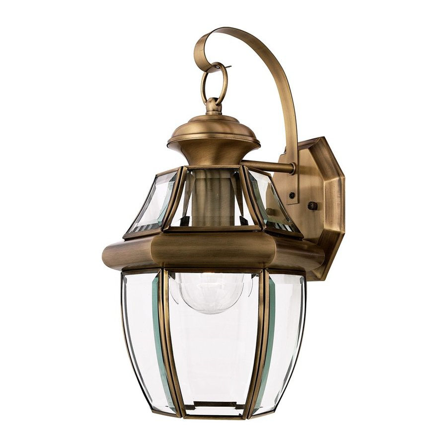 Wall Lantern Lowes : Shop Quoizel Newbury 14-in H Antique Brass Outdoor Wall Light at Lowes.com