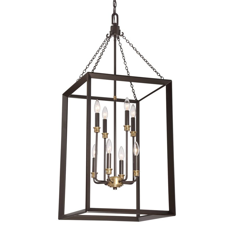 Quoizel Brook Hall 18-in Western Bronze Single Cage Pendant