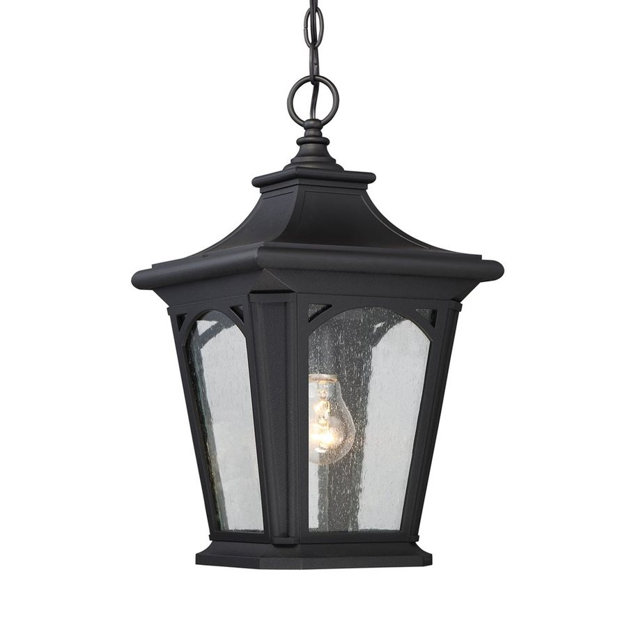 Quoizel Bedford 18-in Mystic Black Outdoor Pendant Light
