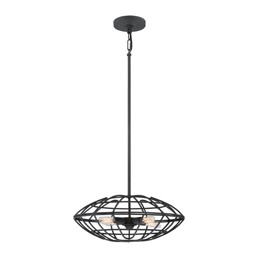 Quoizel Bound 18-in Royal Ebony Industrial Single Cage Pendant