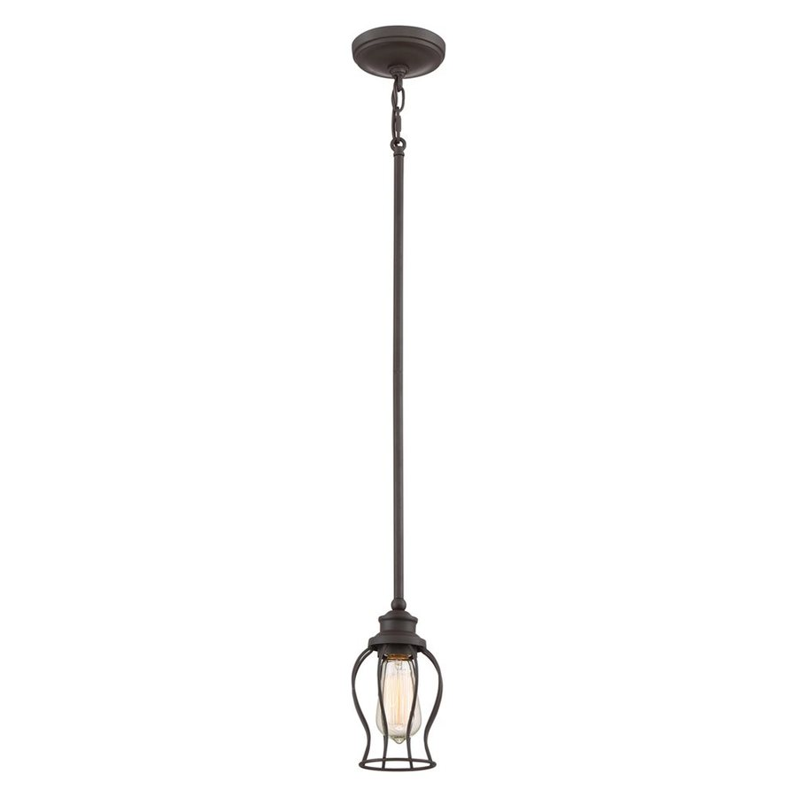 Quoizel Baroness 5-in Western Bronze Industrial Mini Cage Pendant