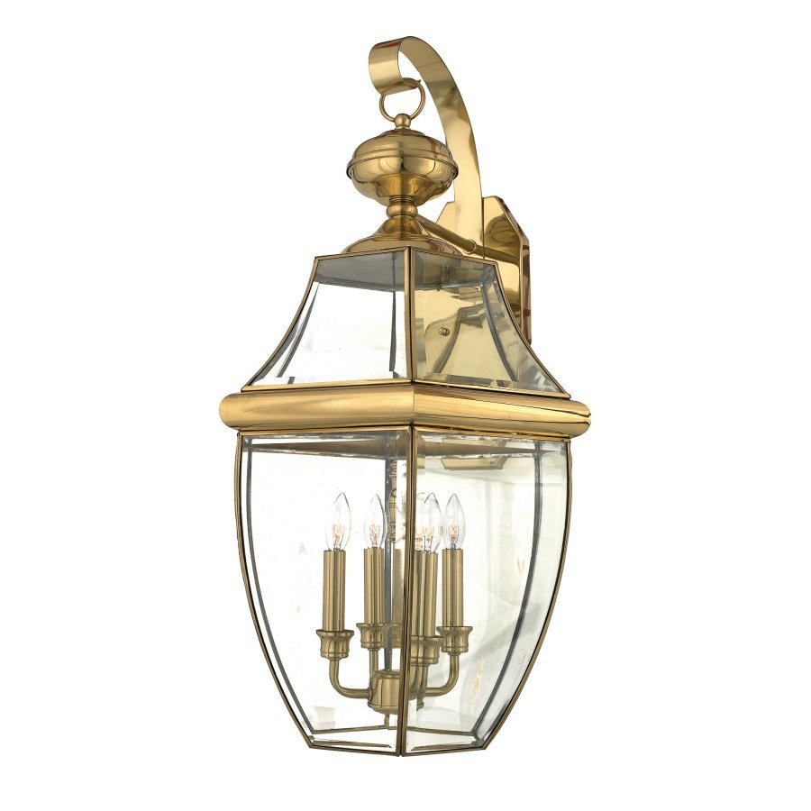 Quoizel Newbury 29-in H Polished Brass Candelabra Base (E-12) Outdoor Wall Light