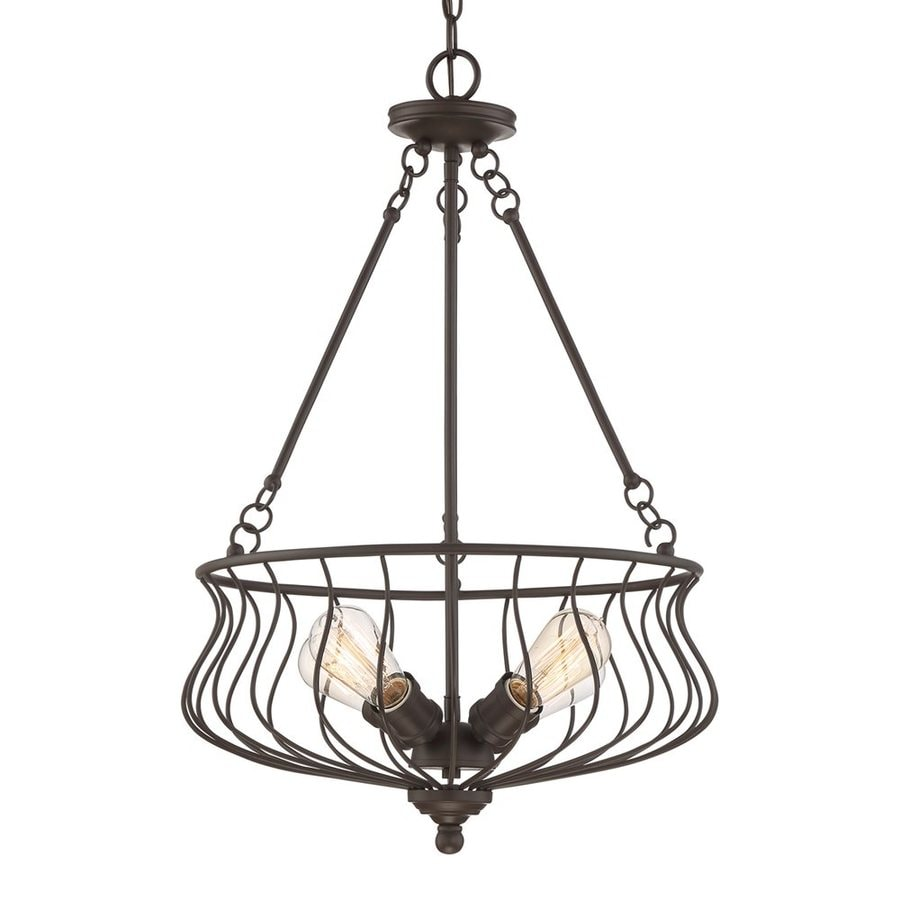 Quoizel Baroness 18-in Western Bronze Industrial Single Cage Pendant