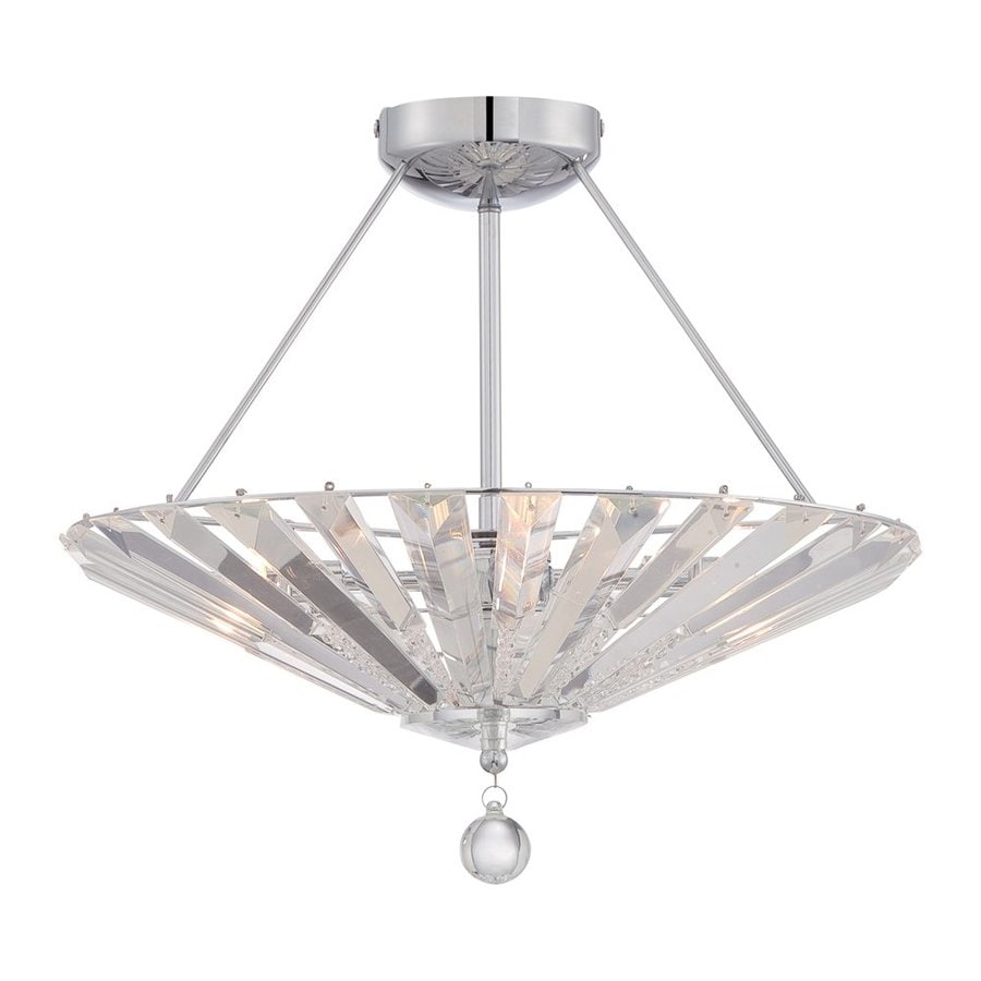 Quoizel Superior 18-in W Polished Chrome Crystal Crystal Accent Semi-Flush Mount Light