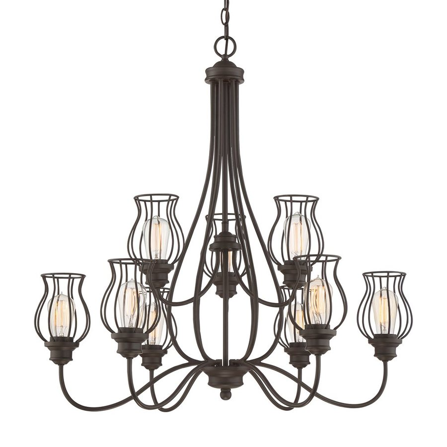 Quoizel Baroness 33-in 9-Light Western Bronze Cage Chandelier