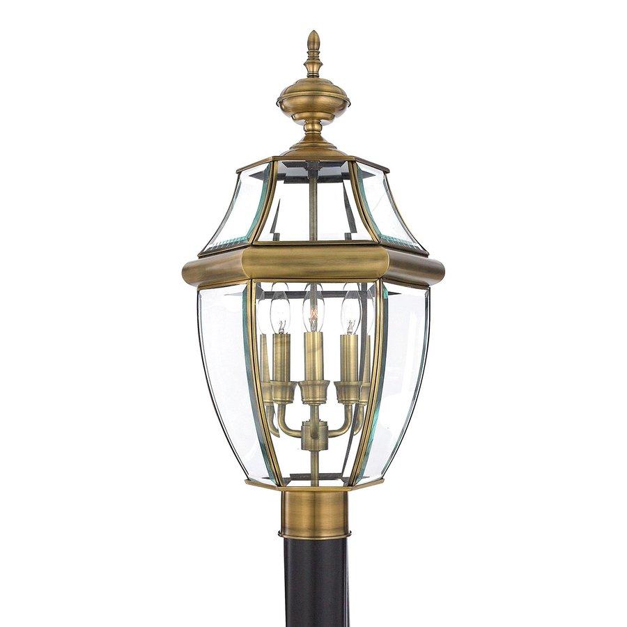 Quoizel Newbury 23-in H Antique Brass Post Light