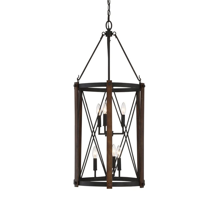 Quoizel Baron 18-in Marcado Black Rustic Single Cage Pendant