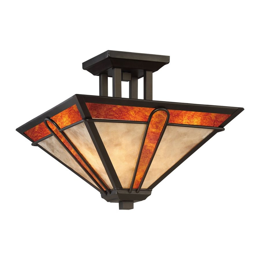 Quoizel Pearce 15-in W Terra Bronze Art Glass Semi-Flush Mount Light