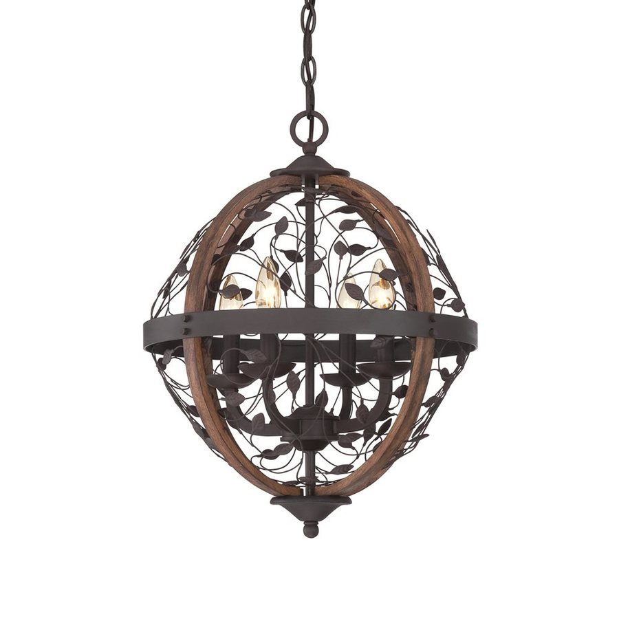 Quoizel Chamber 16-in Darkest Bronze Rustic Single Orb Pendant