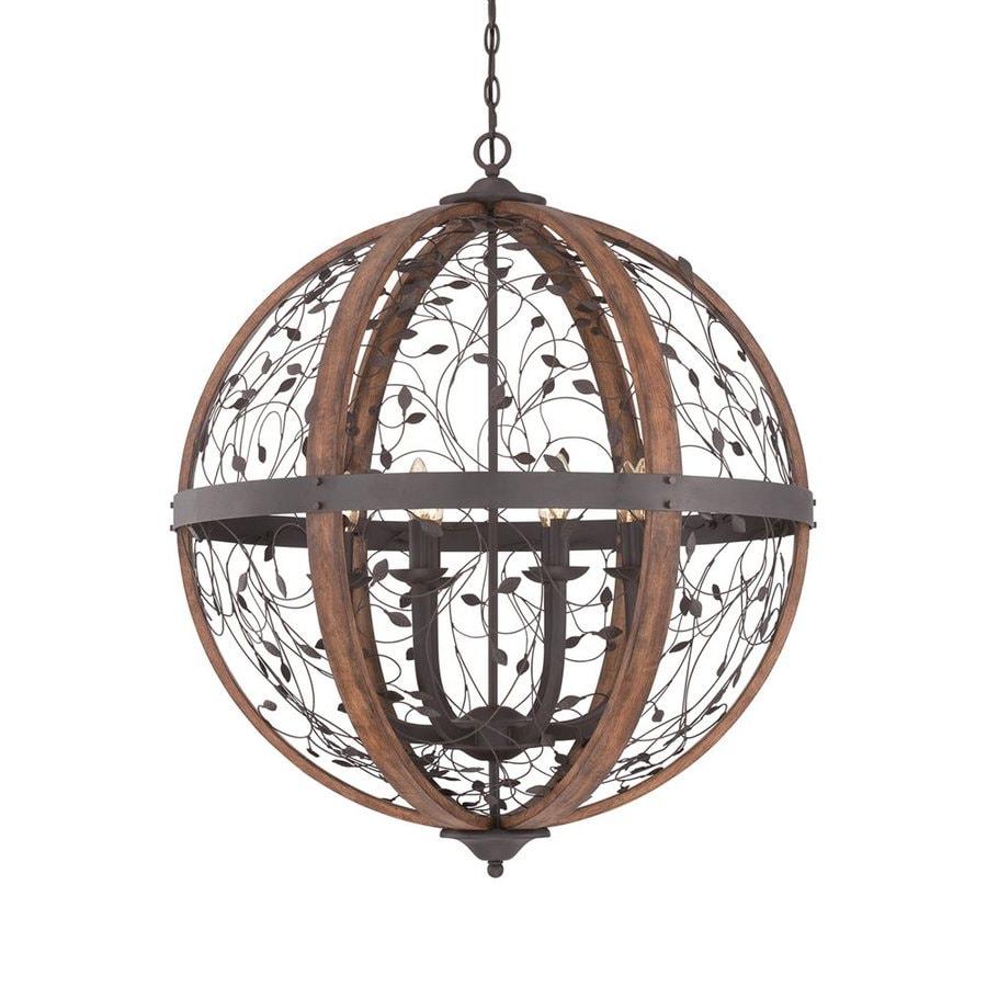 Quoizel Chamber 30.5-in Darkest Bronze Rustic Single Orb Pendant