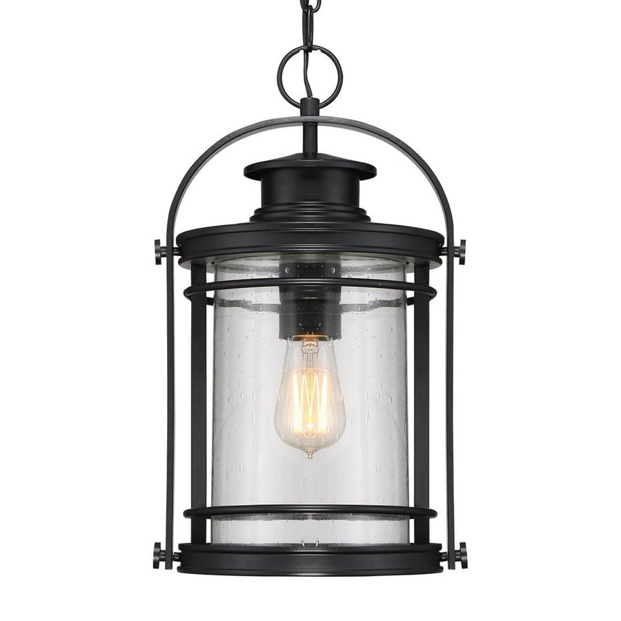 Outdoor Hanging Lanterns Lowes: Quoizel Booker 17.75-in Mystic Black Outdoor Pendant Light