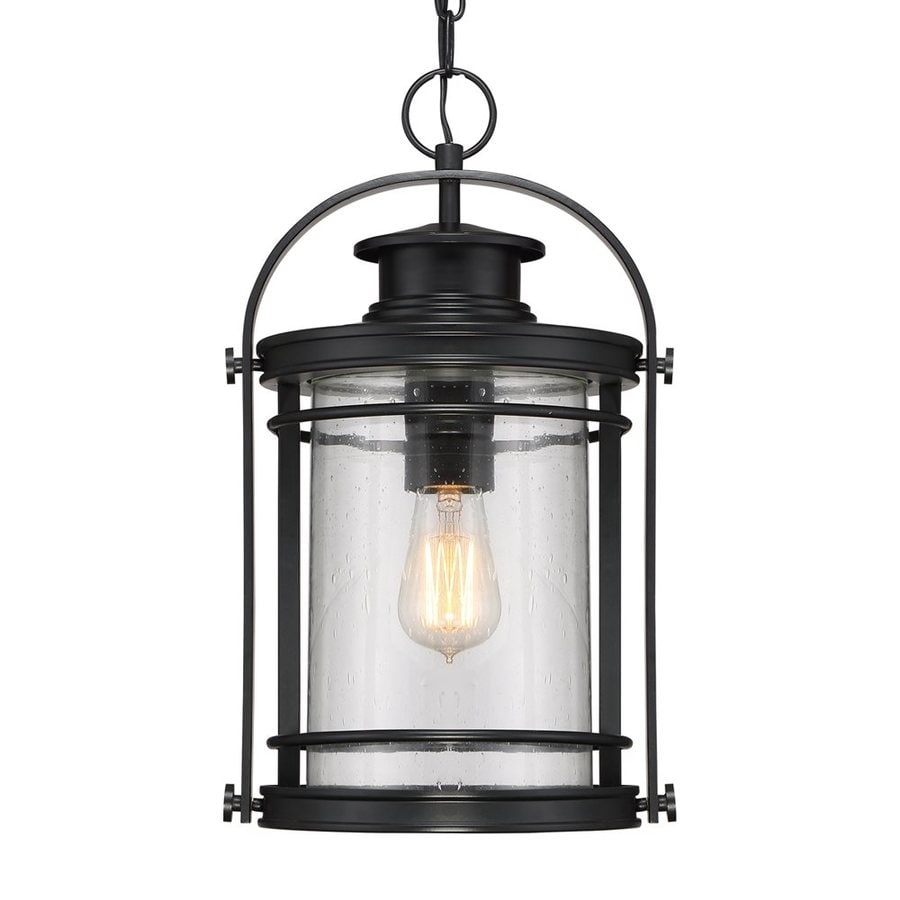 Porch Light Pendant: Quoizel Booker 17.75-in Mystic Black Outdoor Pendant Light