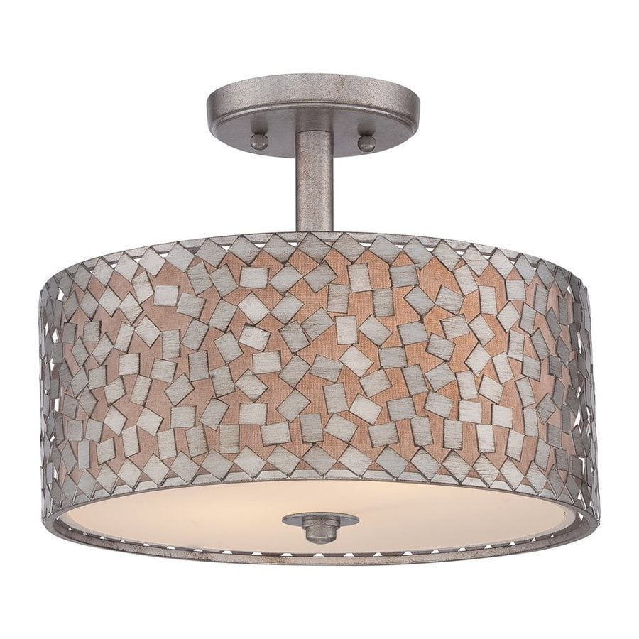 Quoizel Confetti 14-in W Old Silver Fabric Semi-Flush Mount Light