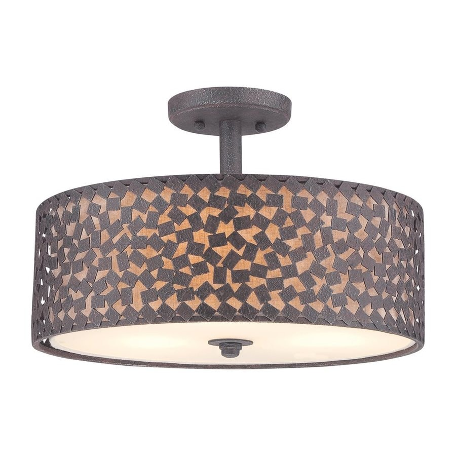 Quoizel Confetti 17-in W Rustic Black Fabric Semi-Flush Mount Light