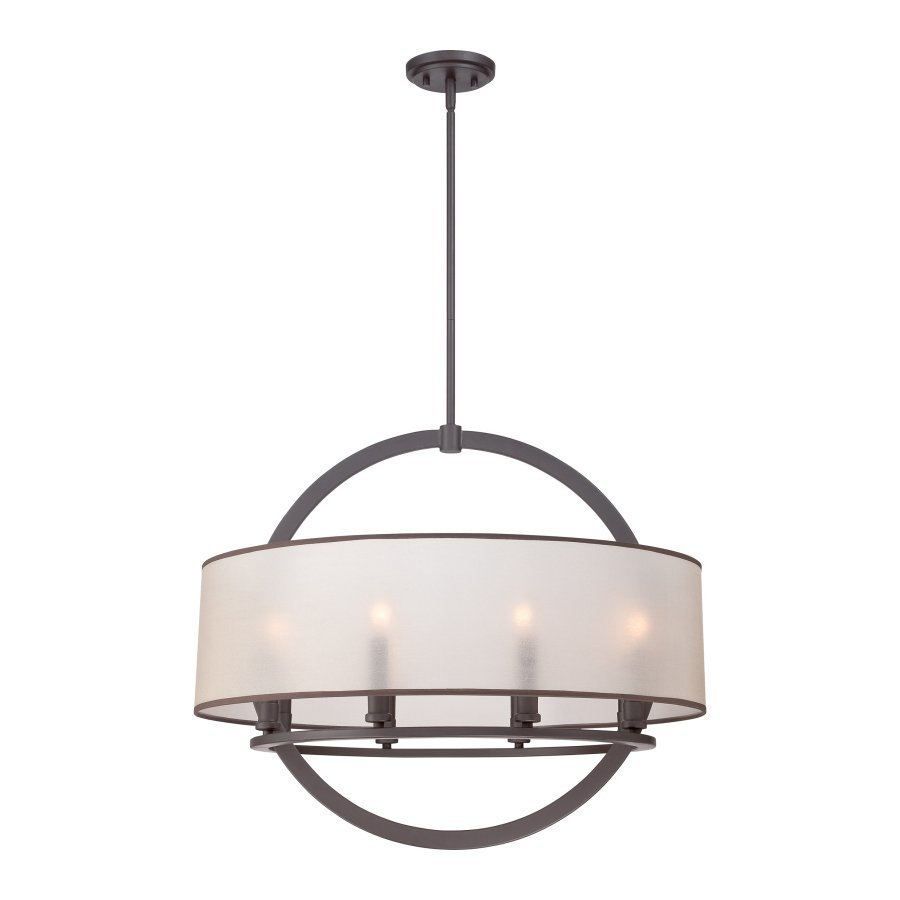 Quoizel Portland 28-in Western Bronze Single Drum Pendant