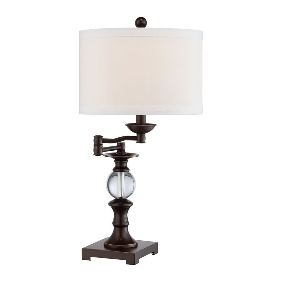 Quoizel 24-in Palladian bronze Plug-In Rotary Socket Swing-arm Table Lamp with Fabric Shade