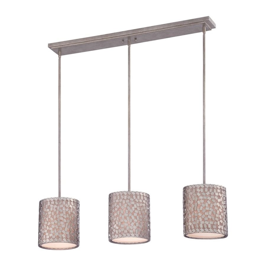 Quoizel Confetti 39.5-in W 3-Light Old Silver Kitchen Island Light with Fabric Shade