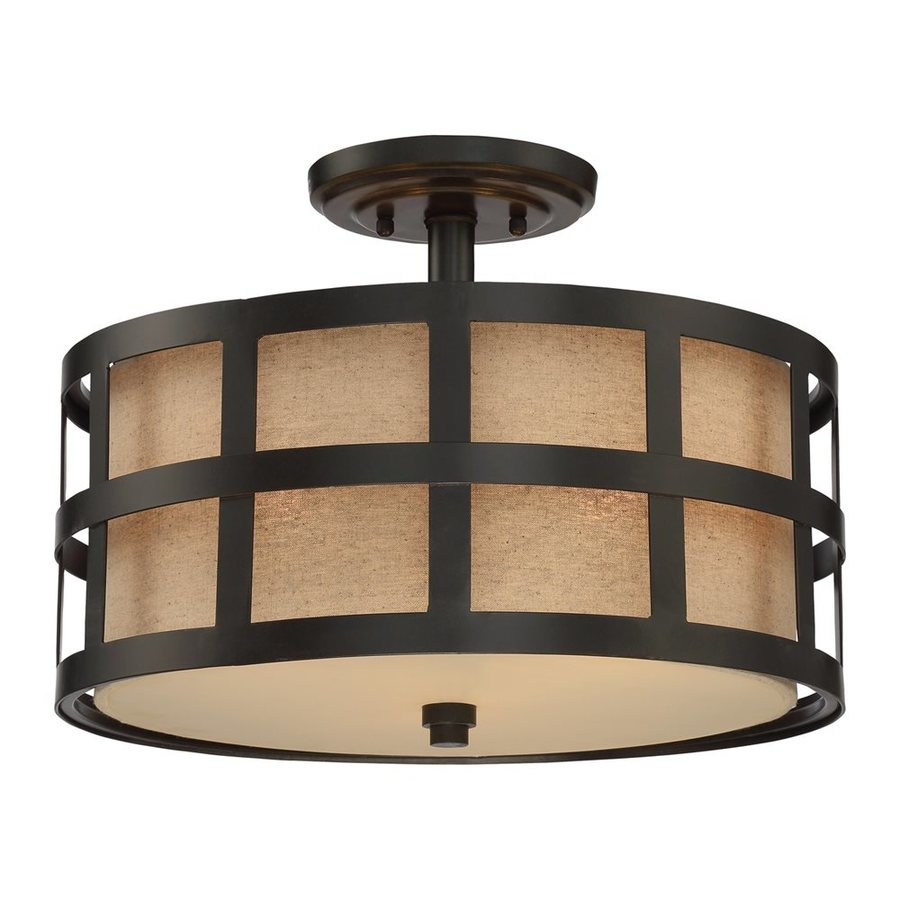 Quoizel Marisol 16-in W Teco Marrone Fabric Semi-Flush Mount Light