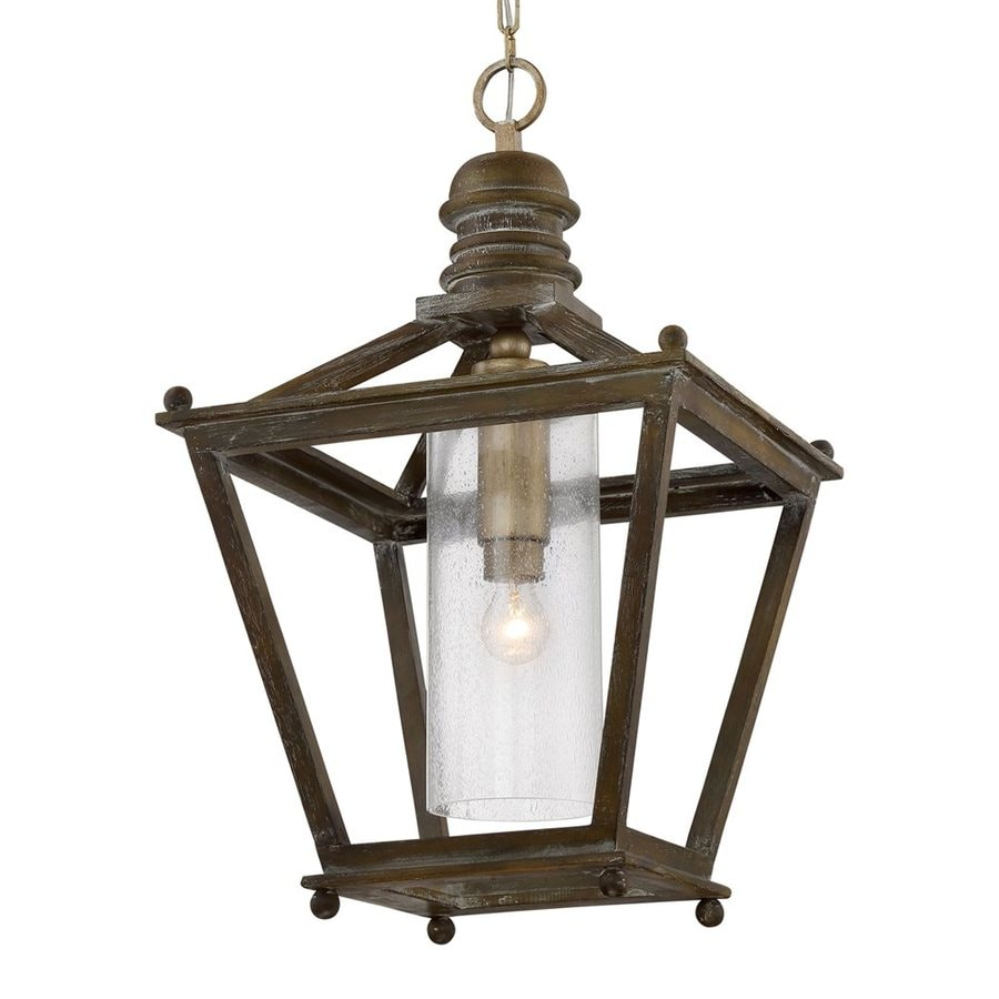 Quoizel Sanctuary 18.25-in Driftwood Rustic Single Seeded Glass Lantern Pendant