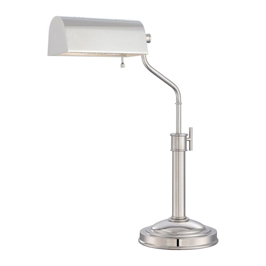 Quoizel Haskell 20.5-in Adjustable Polished Nickel Desk Lamp with Metal Shade