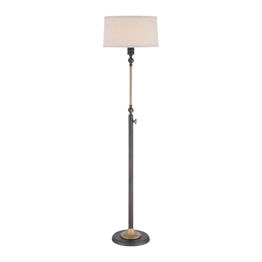 Quoizel Lyndhurst 58.5-in Oil Rubbed Bronze Rotary Socket Floor Lamp with Fabric Shade