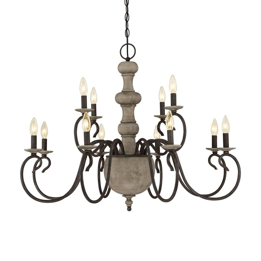 Quoizel Castile 35.5-in 12-Light Rustic Black Williamsburg Candle Chandelier