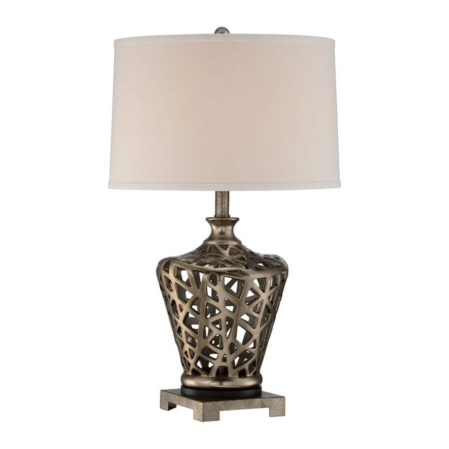 Quoizel Weaving 26-in 3-Way Pewter Indoor Table Lamp with Fabric Shade