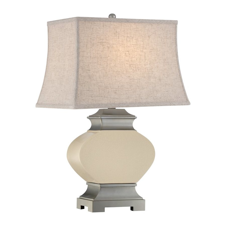 Quoizel Bray 27.5-in 3-Way Tan Indoor Table Lamp with Fabric Shade