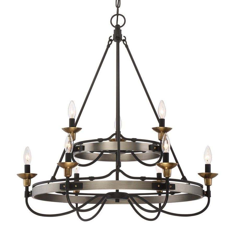 Quoizel Castle Hill 31-in 9-Light Antique Nickel Tiered Chandelier