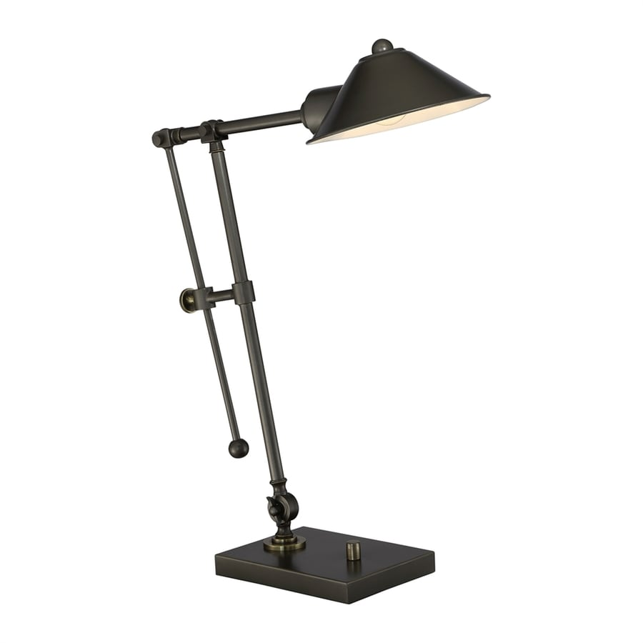 Quoizel Alfred 22.75-in Adjustable Bronze Desk Lamp with Metal Shade