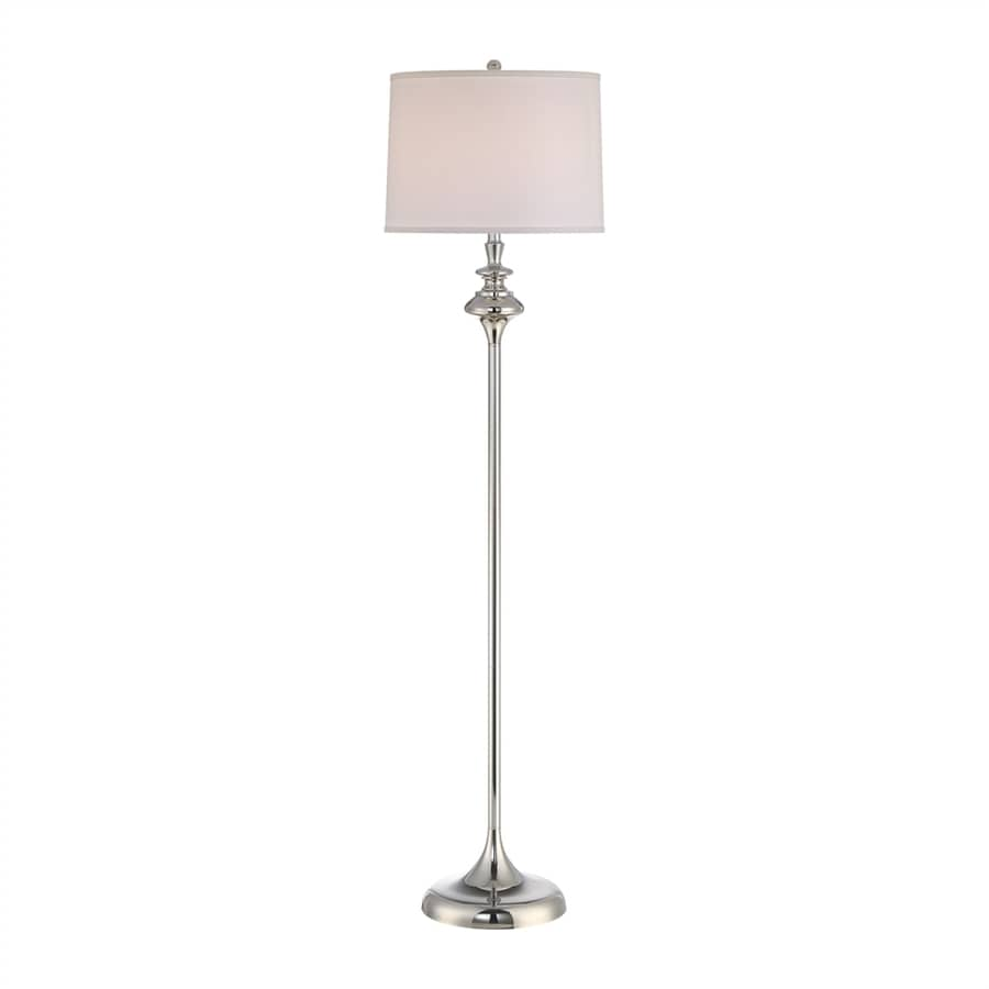 Quoizel Lakeshore 65-in Three-Way Polished Nickel Indoor Floor Lamp with Fabric Shade