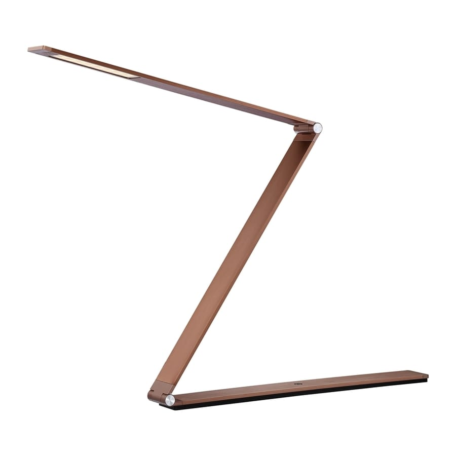 Quoizel Crossway 17.5-in Adjustable Rose Gold LED Touch Desk Lamp with Metal Shade