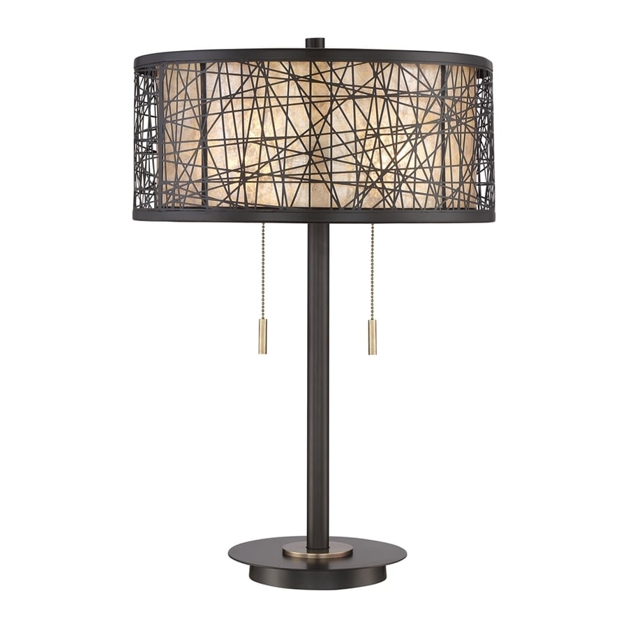 Quoizel Hideaway 24-in Western Bronze Indoor Table Lamp with Mica Shade