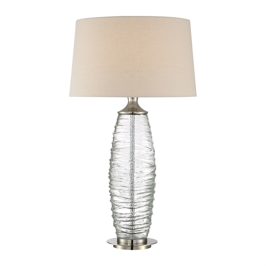 Quoizel Arctic 30-in 3-Way Brushed Nickel Indoor Table Lamp with Fabric Shade