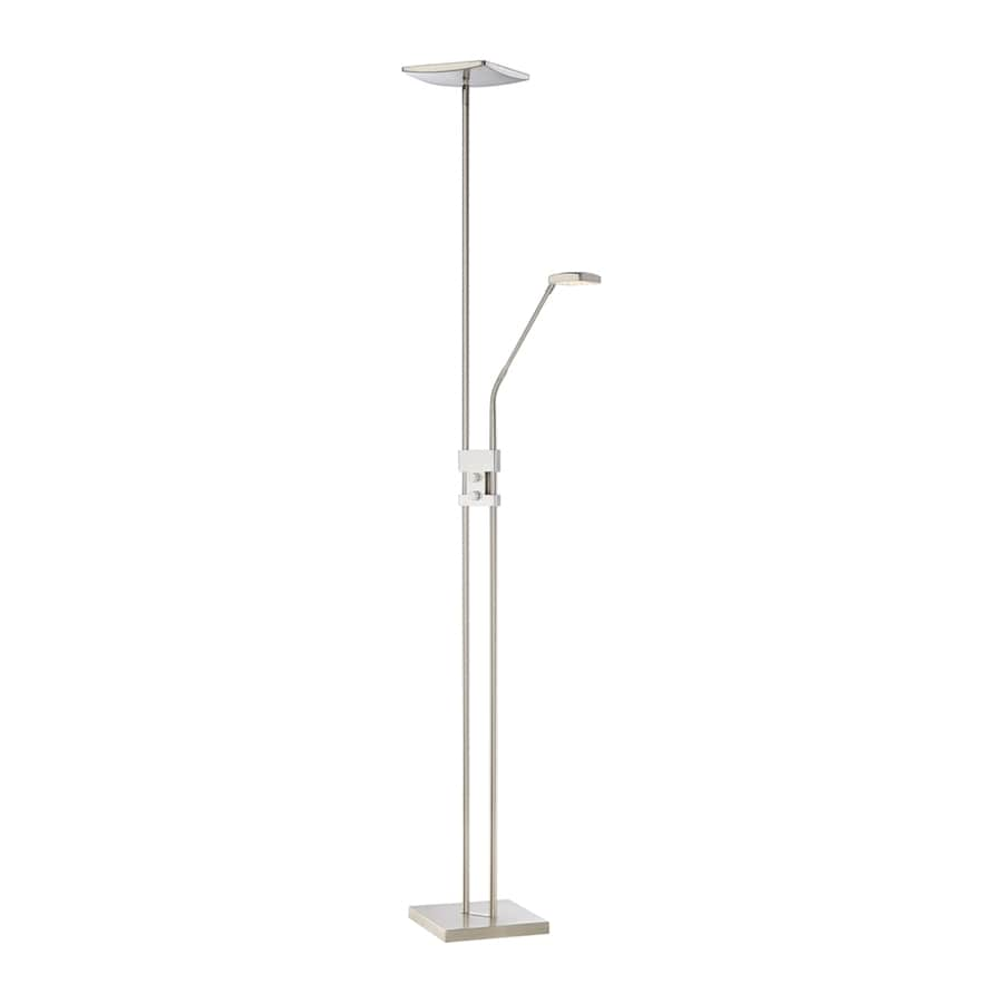 Quoizel Bridge 71-in Brushed Nickel LED Torchiere with Side-Light Indoor Floor Lamp with Metal Shade
