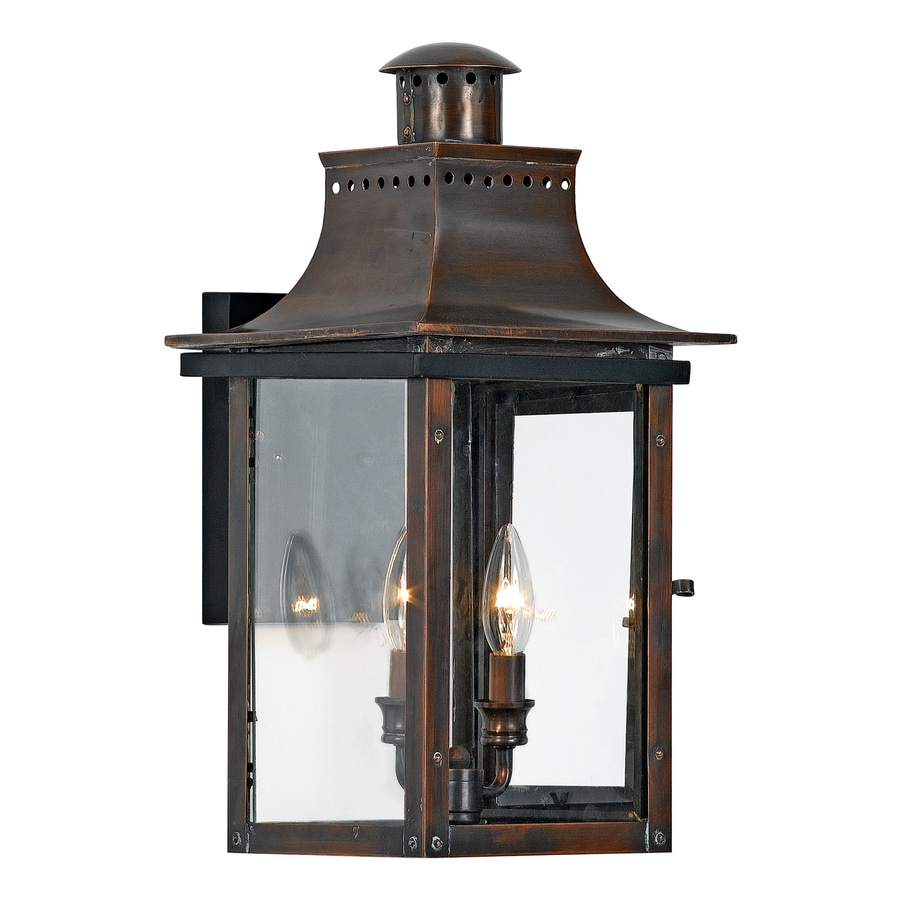 Quoizel Chalmers 19-in H Aged Copper Candelabra Base (E-12) Outdoor Wall Light
