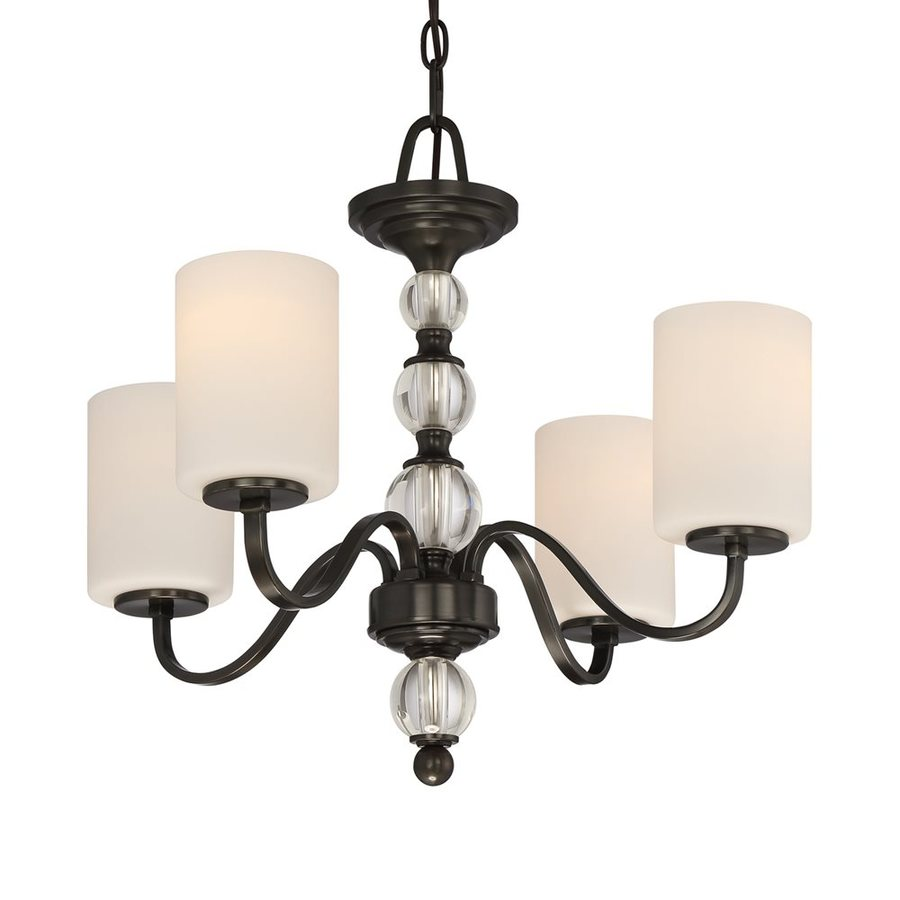 Quoizel Downtown 22-in 4-Light Dusk bronze Etched Glass Shaded Chandelier