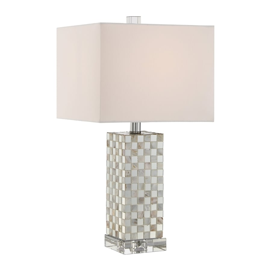 Quoizel Smokey Pearl 21-in Polished Chrome Indoor Table Lamp with Fabric Shade