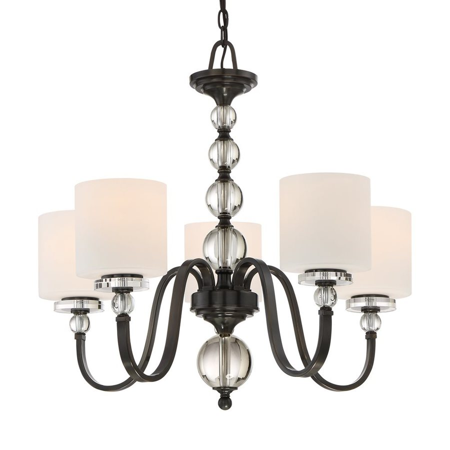 Quoizel Downtown 28-in 5-Light Dusk Bronze Etched Glass Shaded Chandelier