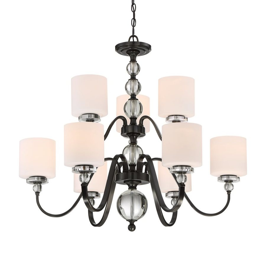 Quoizel Downtown 36-in 9-Light Dusk Bronze Etched Glass Tiered Chandelier