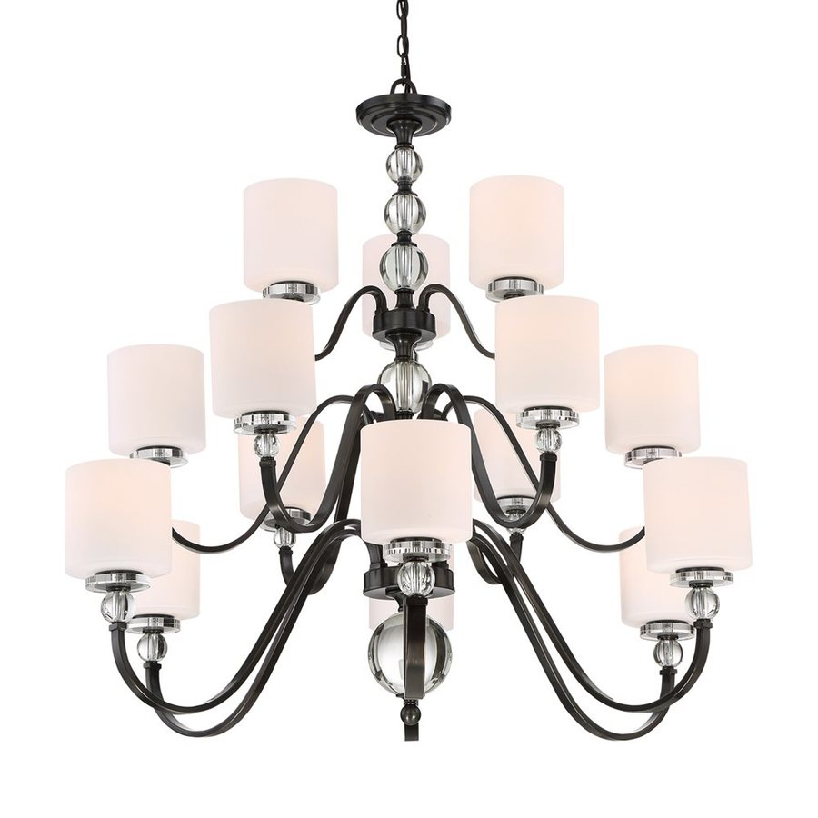 Quoizel Downtown 44-in 15-Light Dusk Bronze Etched Glass Tiered Chandelier