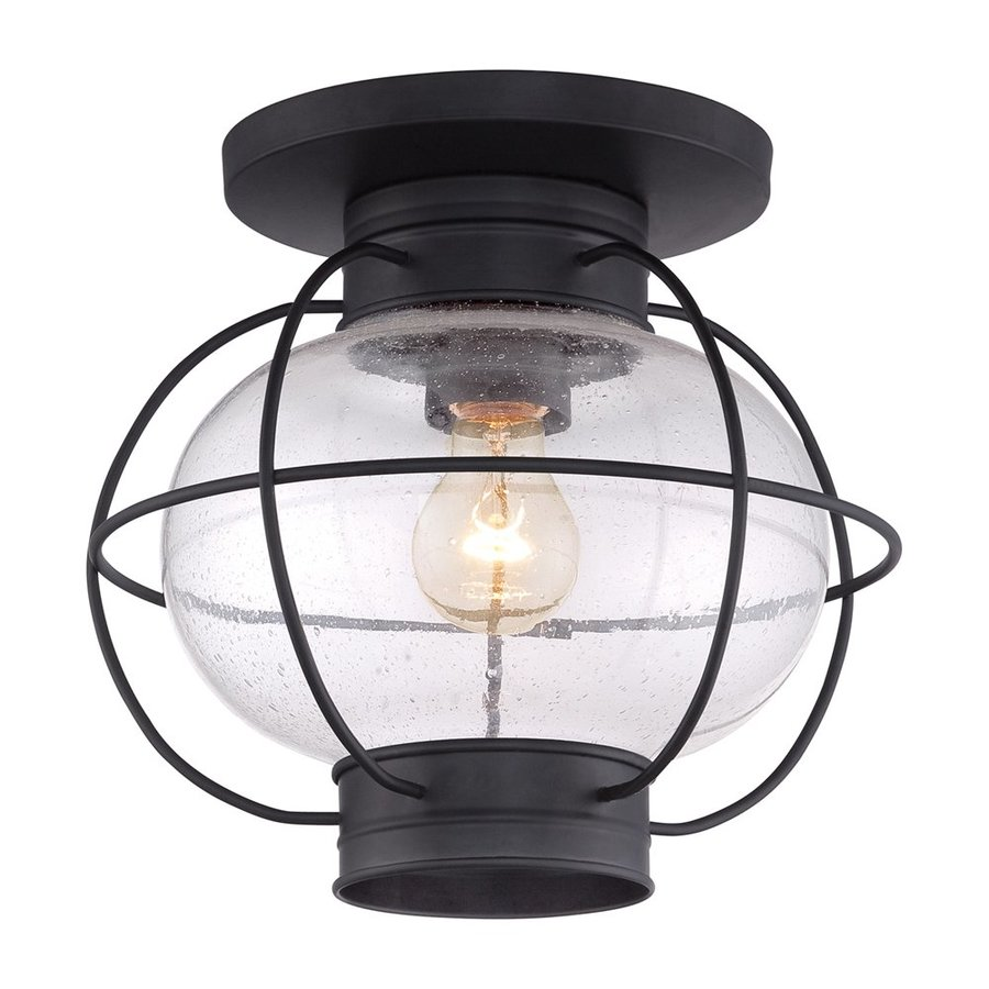 Quoizel Cooper 11-in W Mystic Black Outdoor Flush Mount Light