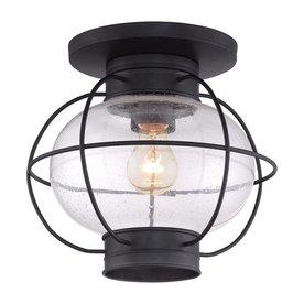Quoizel Cooper 11 5 In W Mystic Black Outdoor Flush Mount Light